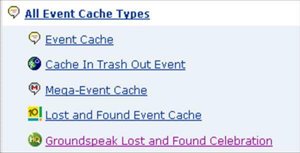 Die 5 unterschiedlichen Icons für GC-Events
